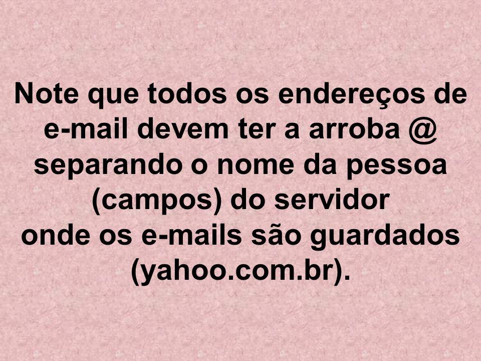 Note que todos os endereços de e-mail devem ter a arroba @ separando o nome da pessoa (campos) do servidor onde os e-mails são guardados (yahoo.com.br).