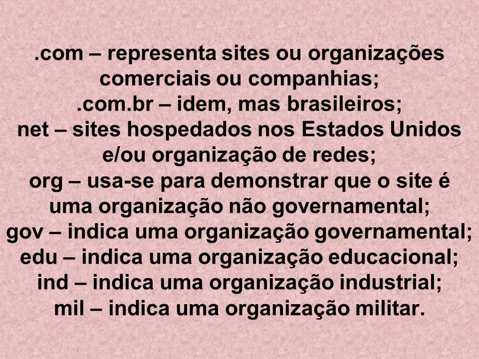 com – representa sites ou organizações comerciais ou companhias;. com
