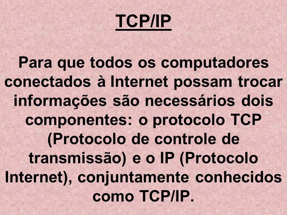 TCP/IP Para que todos os computadores conectados à Internet possam trocar informações são necessários dois componentes: o protocolo TCP (Protocolo de controle de transmissão) e o IP (Protocolo Internet), conjuntamente conhecidos como TCP/IP.