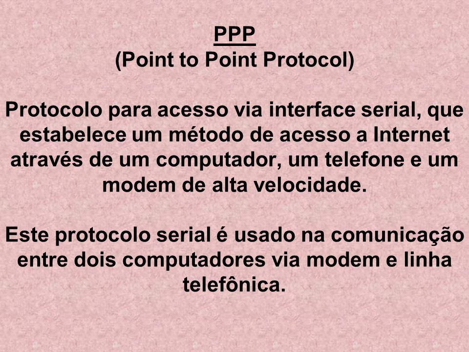 PPP (Point to Point Protocol) Protocolo para acesso via interface serial, que estabelece um método de acesso a Internet através de um computador, um telefone e um modem de alta velocidade.