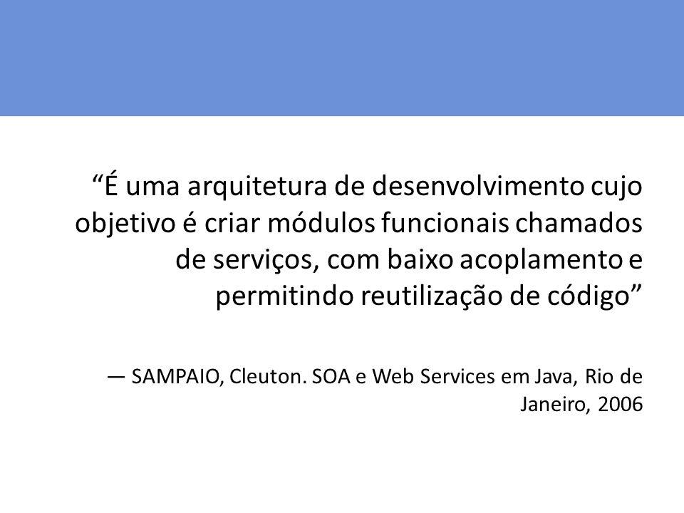 É uma arquitetura de desenvolvimento cujo objetivo é criar módulos funcionais chamados de serviços, com baixo acoplamento e permitindo reutilização de código