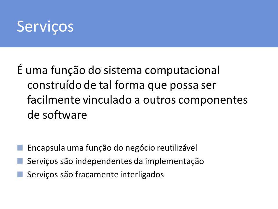 Serviços É uma função do sistema computacional construído de tal forma que possa ser facilmente vinculado a outros componentes de software.