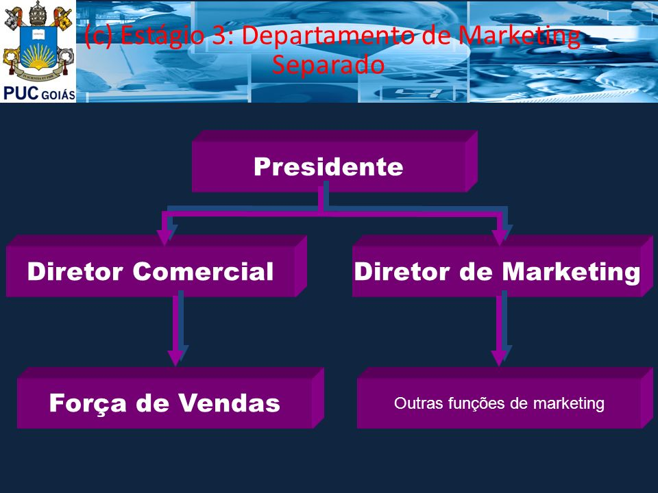 (c) Estágio 3: Departamento de Marketing Separado