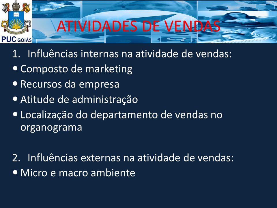 ATIVIDADES DE VENDAS Influências internas na atividade de vendas: