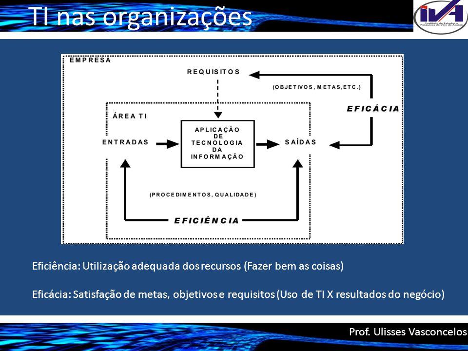 TI nas organizações Eficiência: Utilização adequada dos recursos (Fazer bem as coisas)