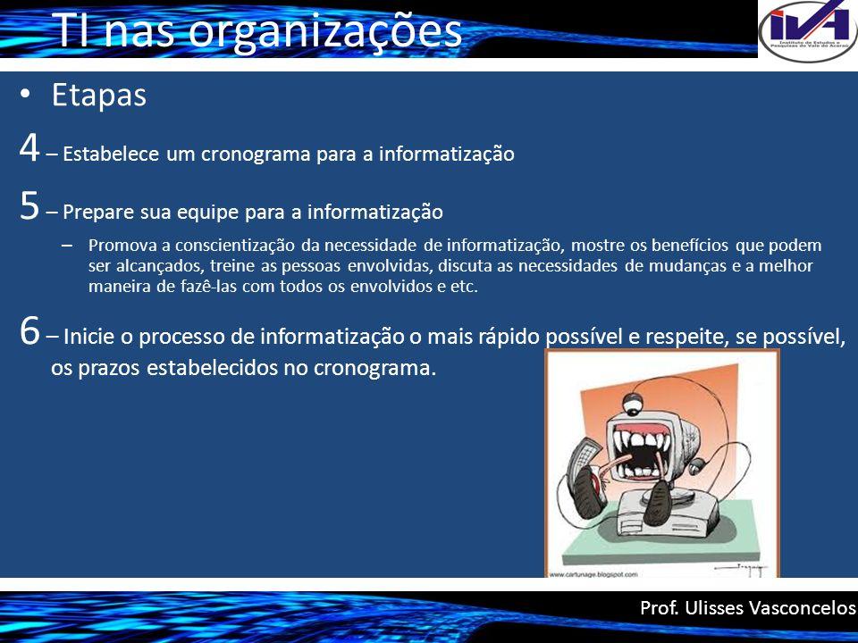 TI nas organizações 4 – Estabelece um cronograma para a informatização