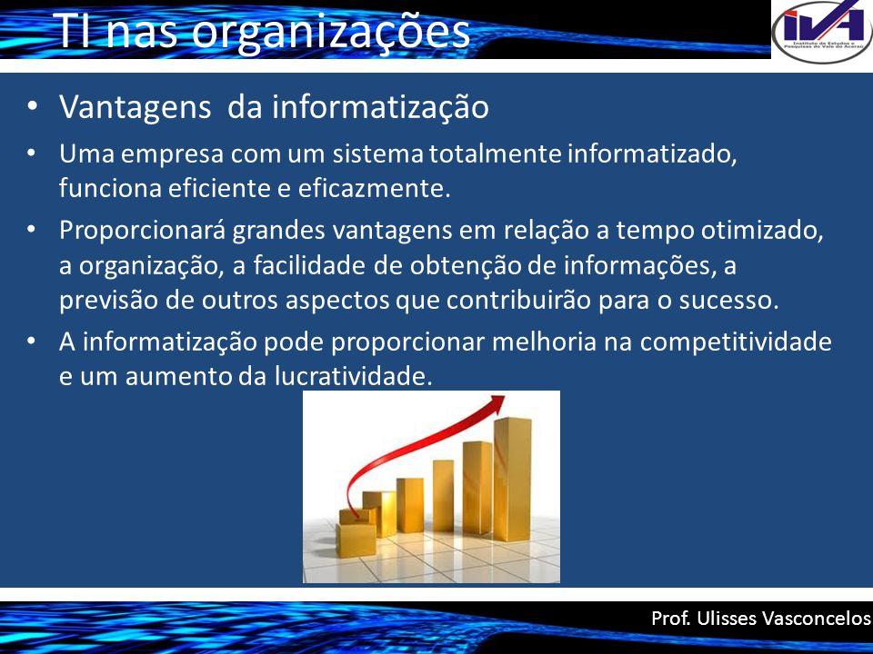 TI nas organizações Vantagens da informatização