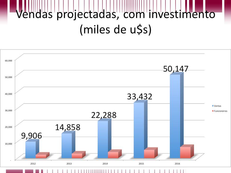 Vendas projectadas, com investimento (miles de u$s)