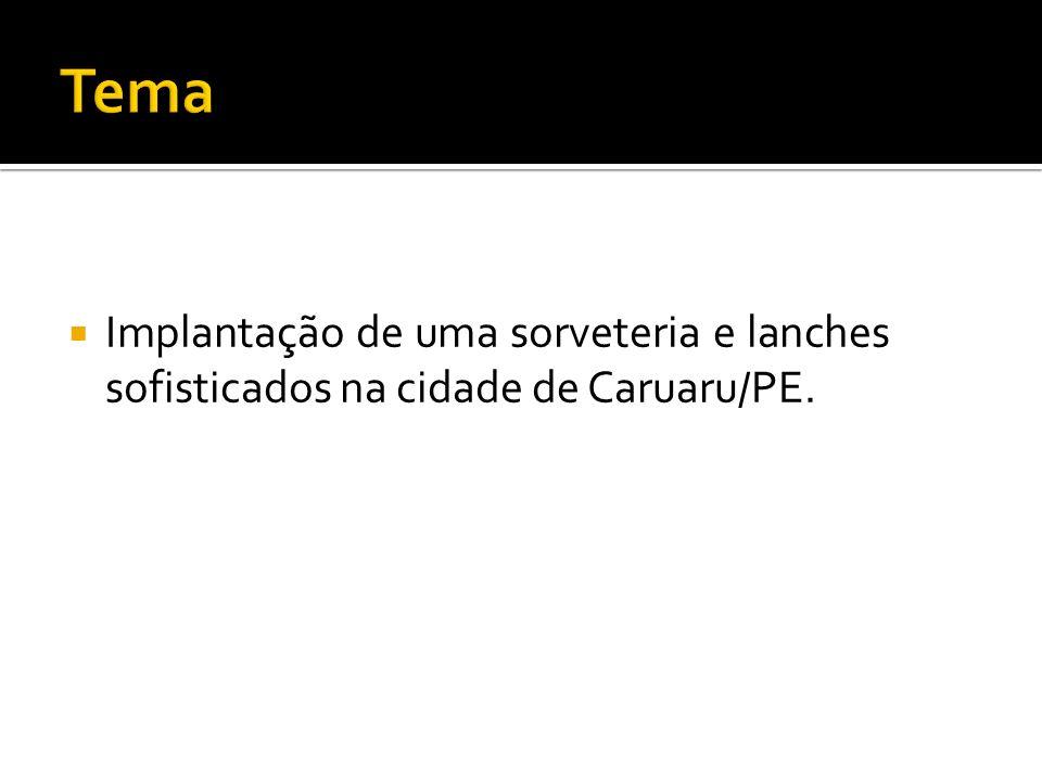 Tema Implantação de uma sorveteria e lanches sofisticados na cidade de Caruaru/PE.