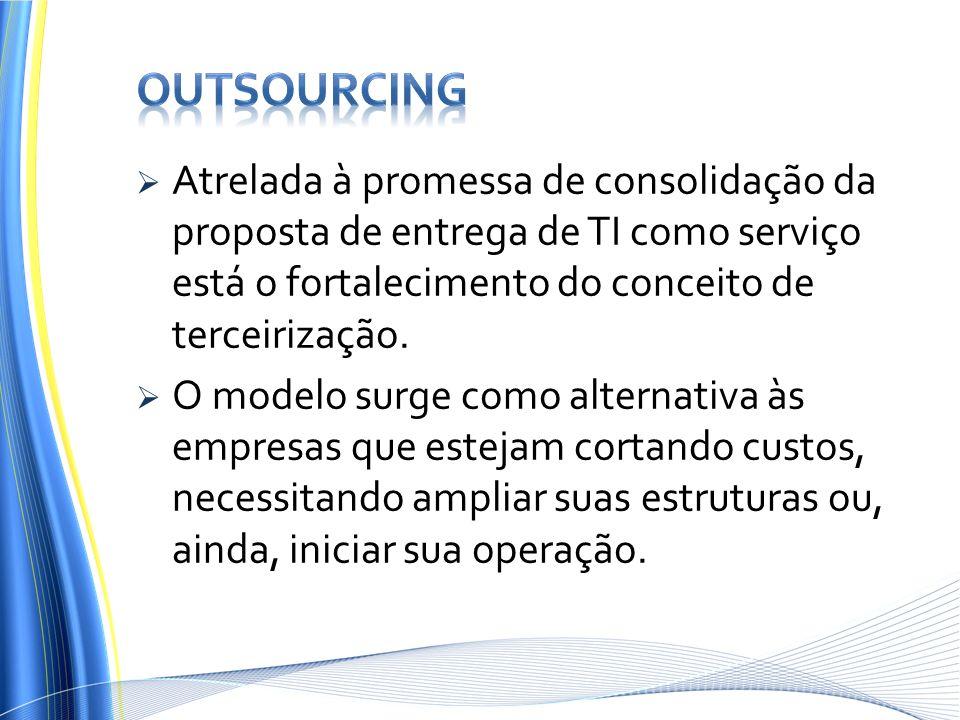 outsourcing Atrelada à promessa de consolidação da proposta de entrega de TI como serviço está o fortalecimento do conceito de terceirização.
