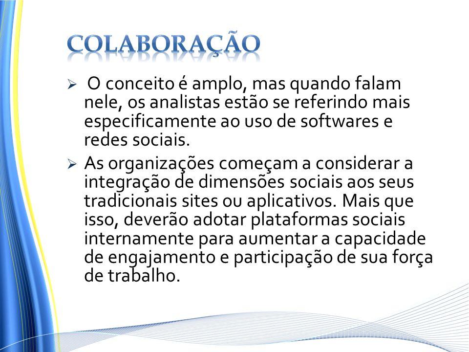 colaboração O conceito é amplo, mas quando falam nele, os analistas estão se referindo mais especificamente ao uso de softwares e redes sociais.