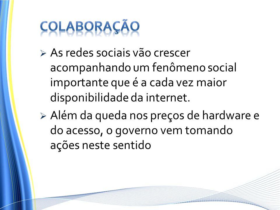 Colaboração As redes sociais vão crescer acompanhando um fenômeno social importante que é a cada vez maior disponibilidade da internet.