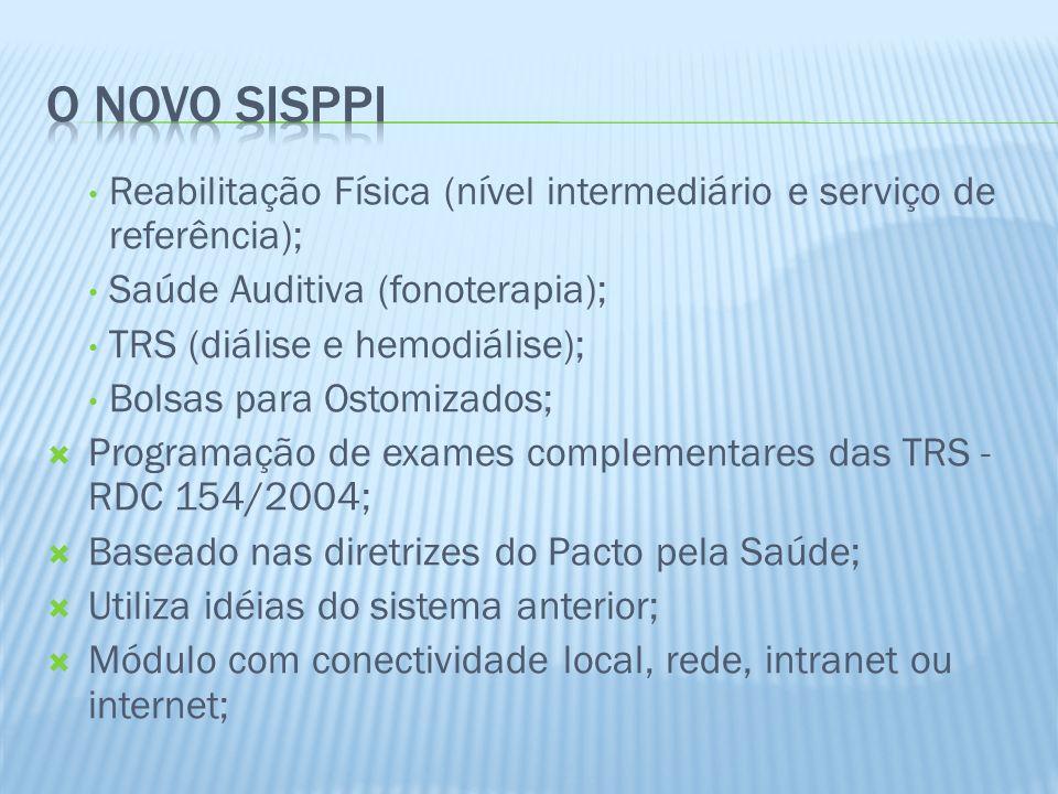 30/03/2017 O NOVO SISPPI. Reabilitação Física (nível intermediário e serviço de referência); Saúde Auditiva (fonoterapia);