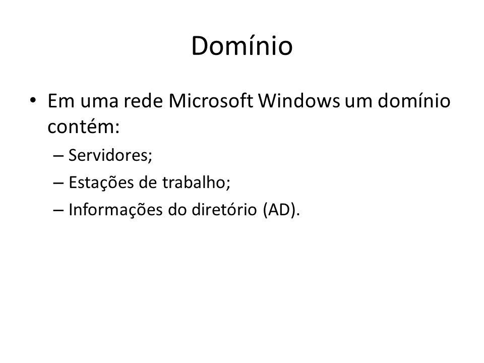Domínio Em uma rede Microsoft Windows um domínio contém: Servidores;