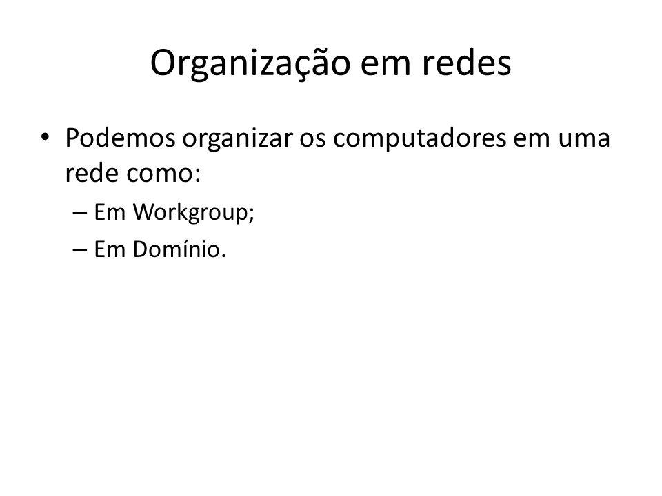 Organização em redes Podemos organizar os computadores em uma rede como: Em Workgroup; Em Domínio.