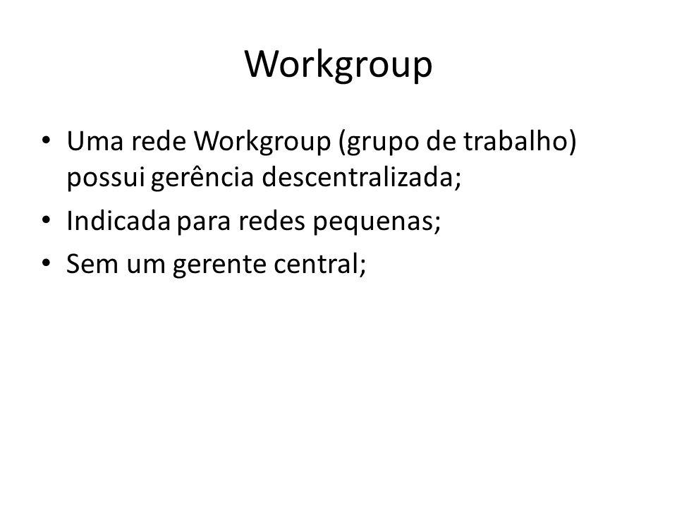 Workgroup Uma rede Workgroup (grupo de trabalho) possui gerência descentralizada; Indicada para redes pequenas;