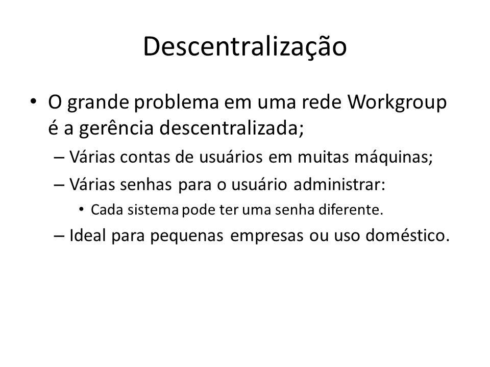 Descentralização O grande problema em uma rede Workgroup é a gerência descentralizada; Várias contas de usuários em muitas máquinas;