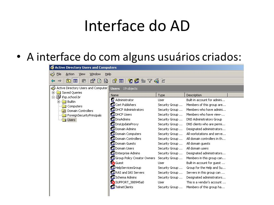 Interface do AD A interface do com alguns usuários criados: