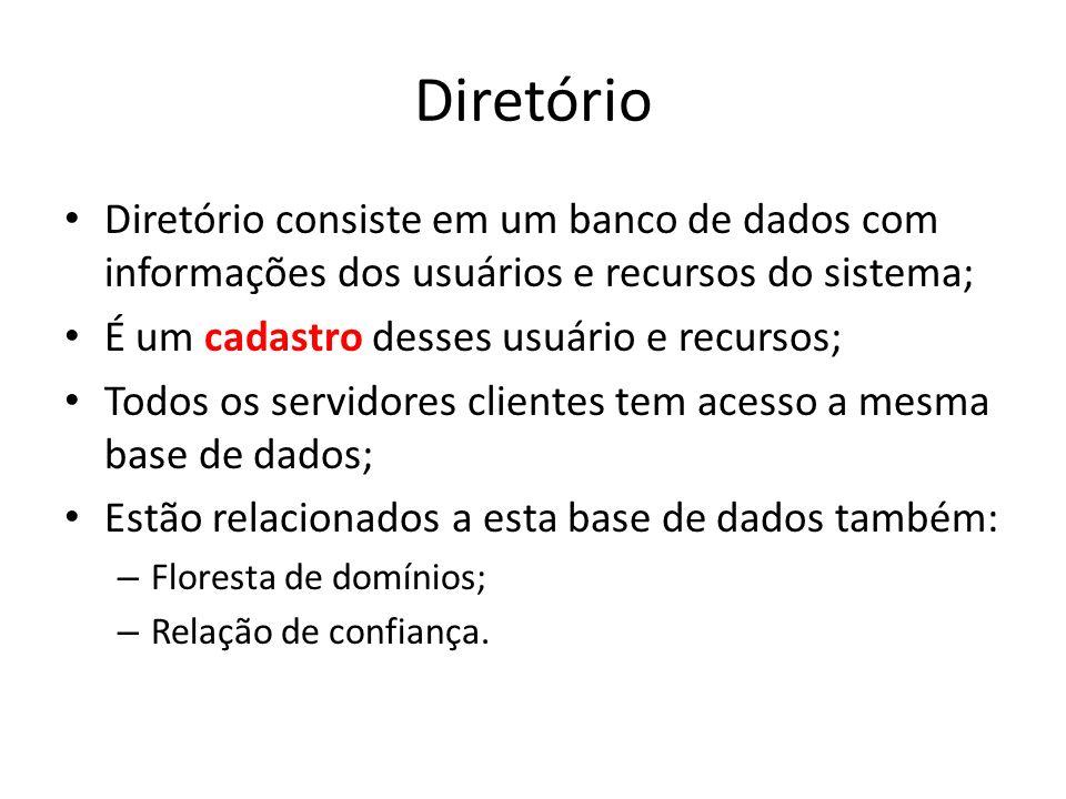 Diretório Diretório consiste em um banco de dados com informações dos usuários e recursos do sistema;