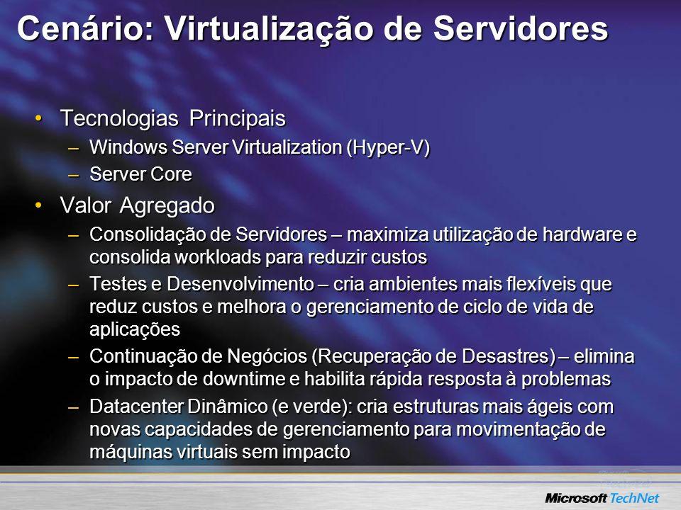 Cenário: Virtualização de Servidores