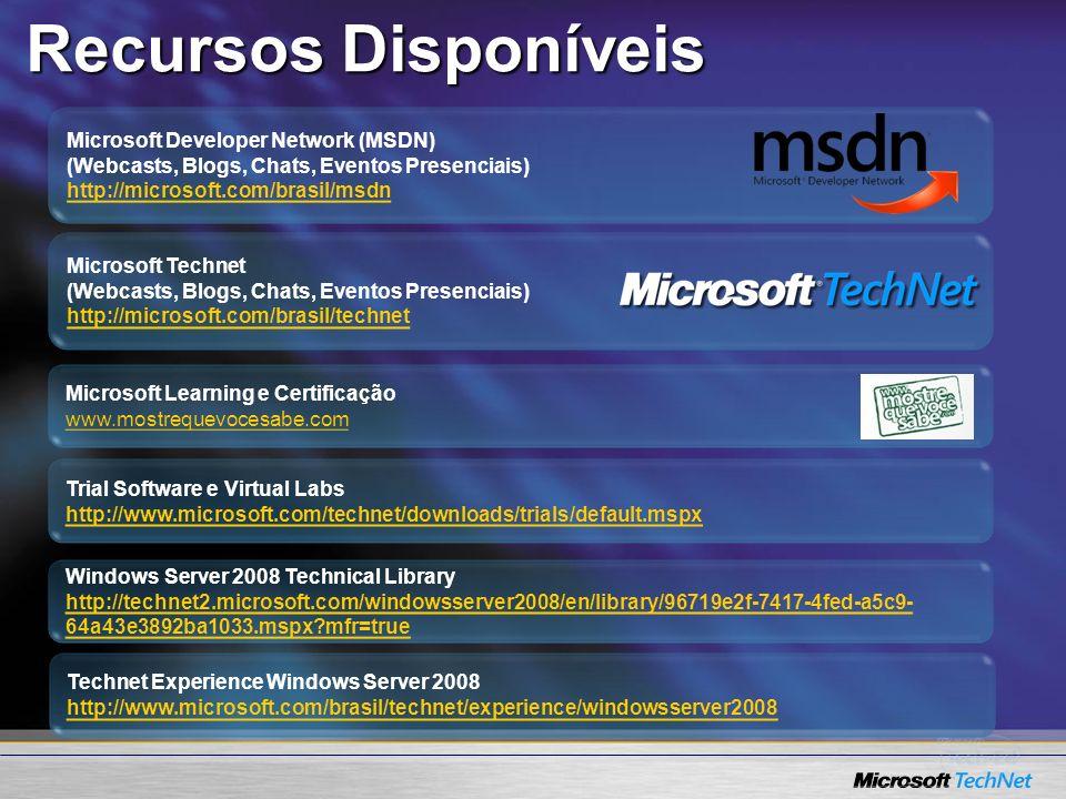Recursos Disponíveis Microsoft Developer Network (MSDN)