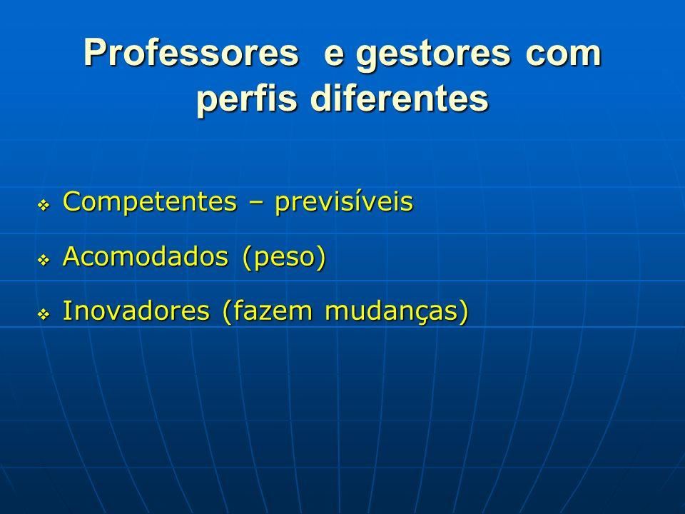 Professores e gestores com perfis diferentes