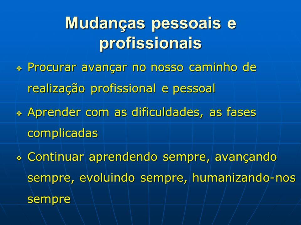 Mudanças pessoais e profissionais