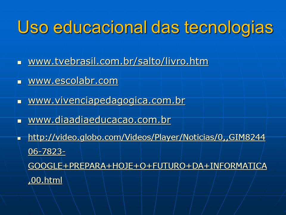 Uso educacional das tecnologias
