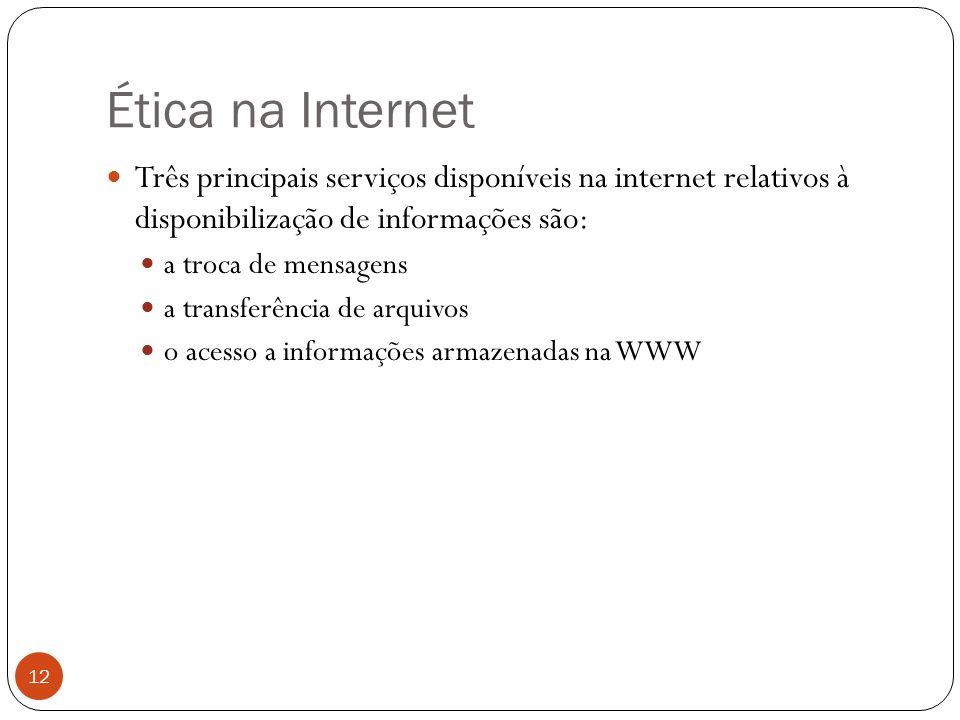 Ética na Internet Três principais serviços disponíveis na internet relativos à disponibilização de informações são:
