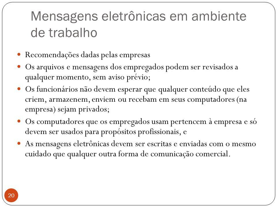 Mensagens eletrônicas em ambiente de trabalho