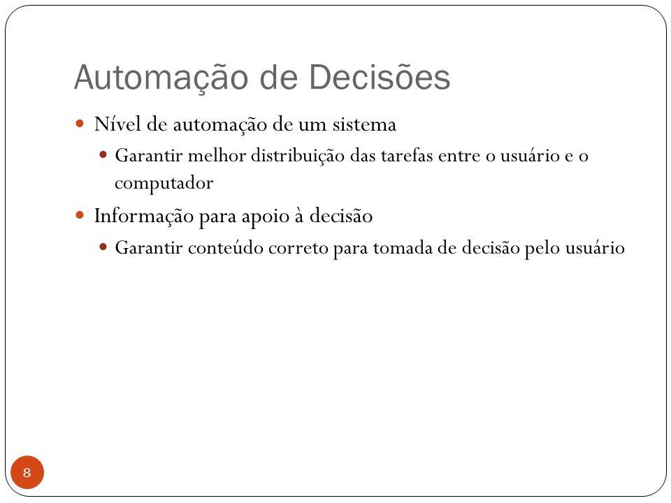 Automação de Decisões Nível de automação de um sistema