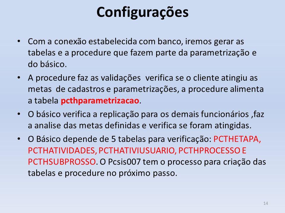 Configurações Com a conexão estabelecida com banco, iremos gerar as tabelas e a procedure que fazem parte da parametrização e do básico.