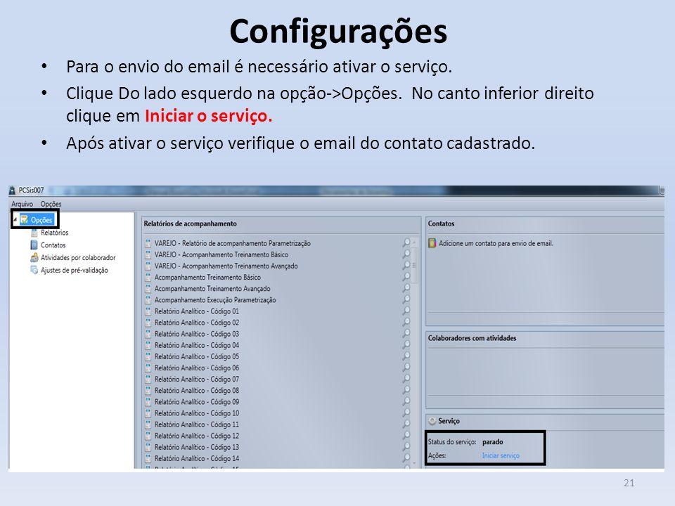 Configurações Para o envio do email é necessário ativar o serviço.