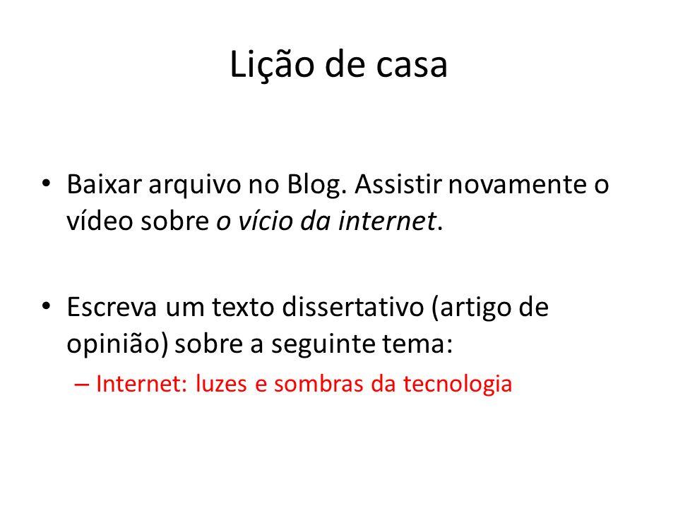 Lição de casa Baixar arquivo no Blog. Assistir novamente o vídeo sobre o vício da internet.