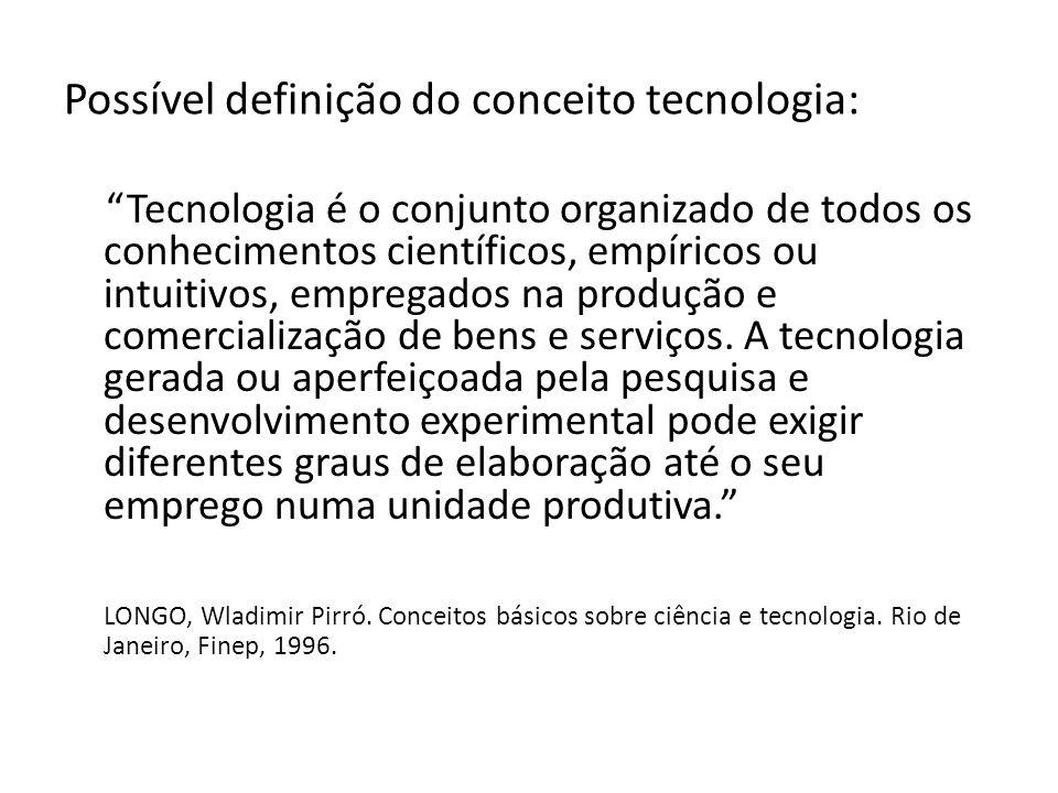 Possível definição do conceito tecnologia:
