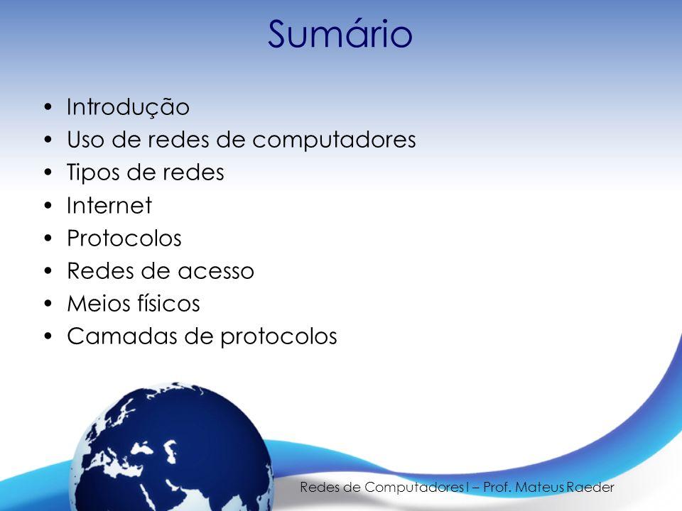 Redes de Computadores I – Prof. Mateus Raeder