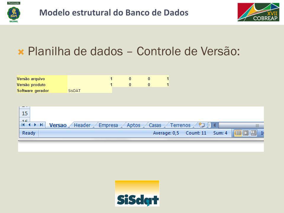 Planilha de dados – Controle de Versão: