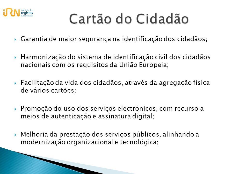 Cartão do Cidadão Garantia de maior segurança na identificação dos cidadãos;