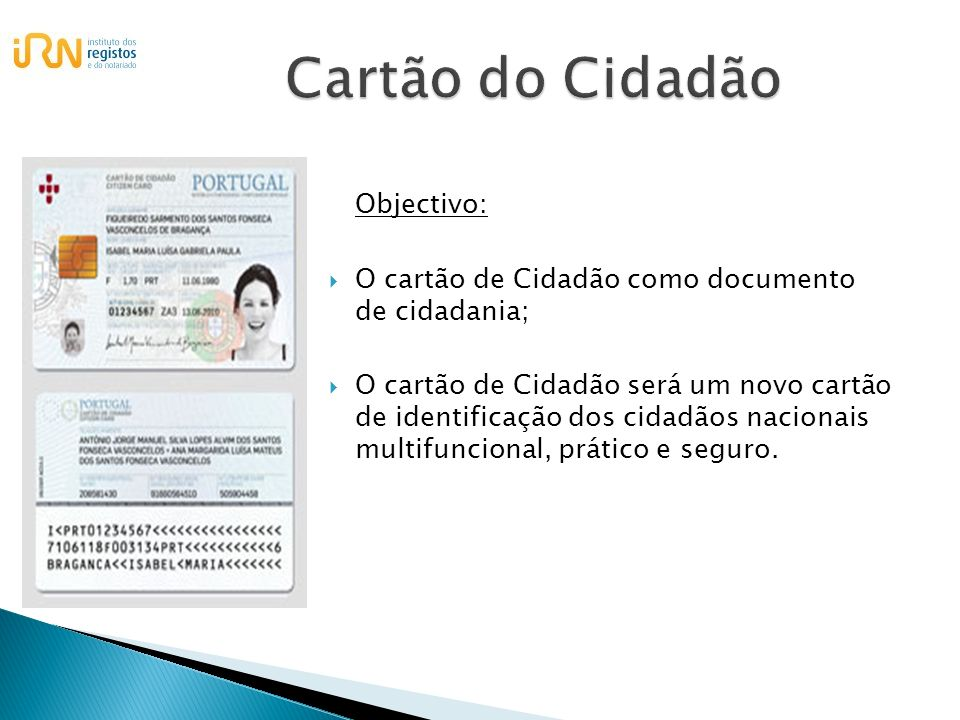 Cartão do Cidadão Objectivo: