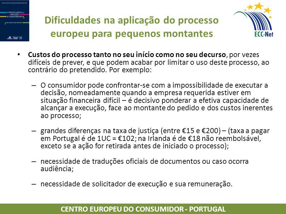 Dificuldades na aplicação do processo europeu para pequenos montantes