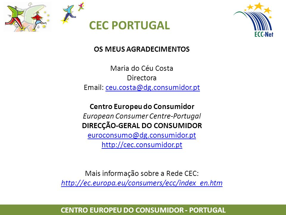 OS MEUS AGRADECIMENTOS CENTRO EUROPEU DO CONSUMIDOR - PORTUGAL