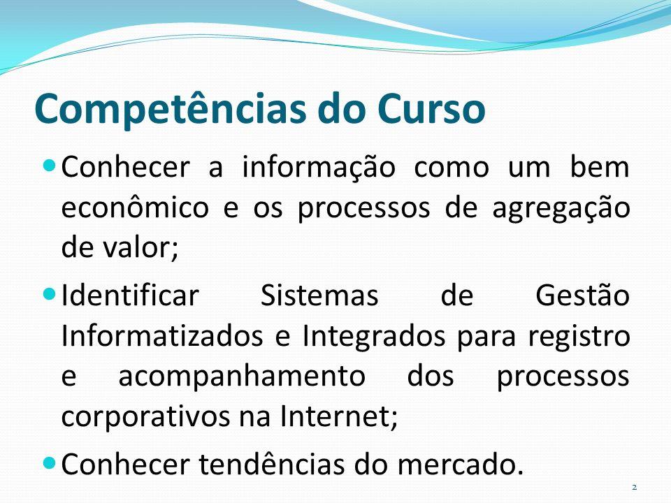 Competências do Curso Conhecer a informação como um bem econômico e os processos de agregação de valor;