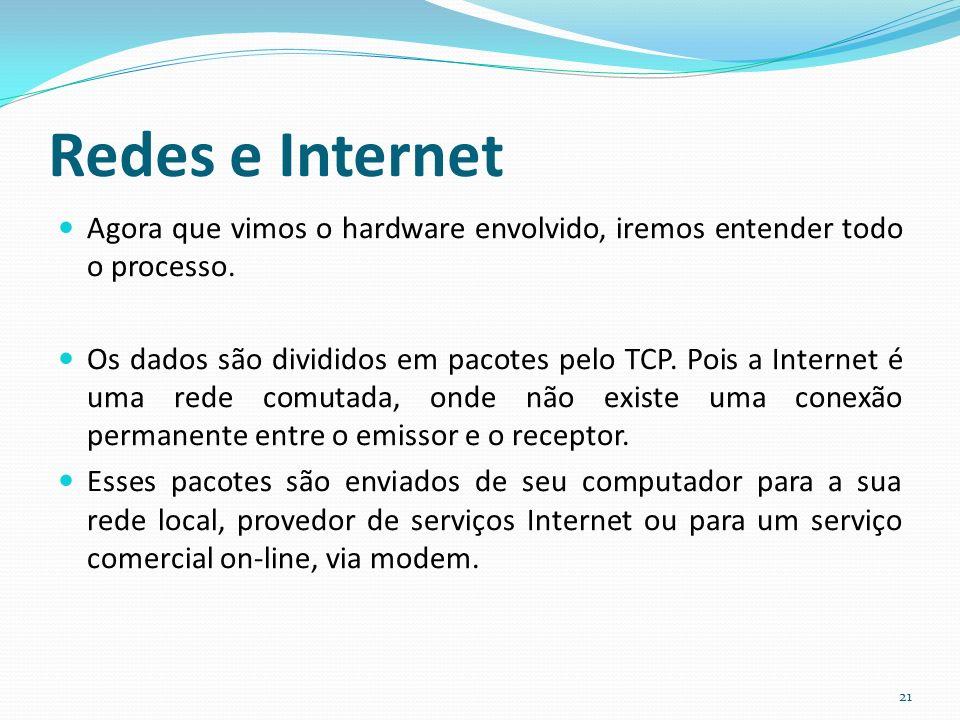 Redes e Internet Agora que vimos o hardware envolvido, iremos entender todo o processo.