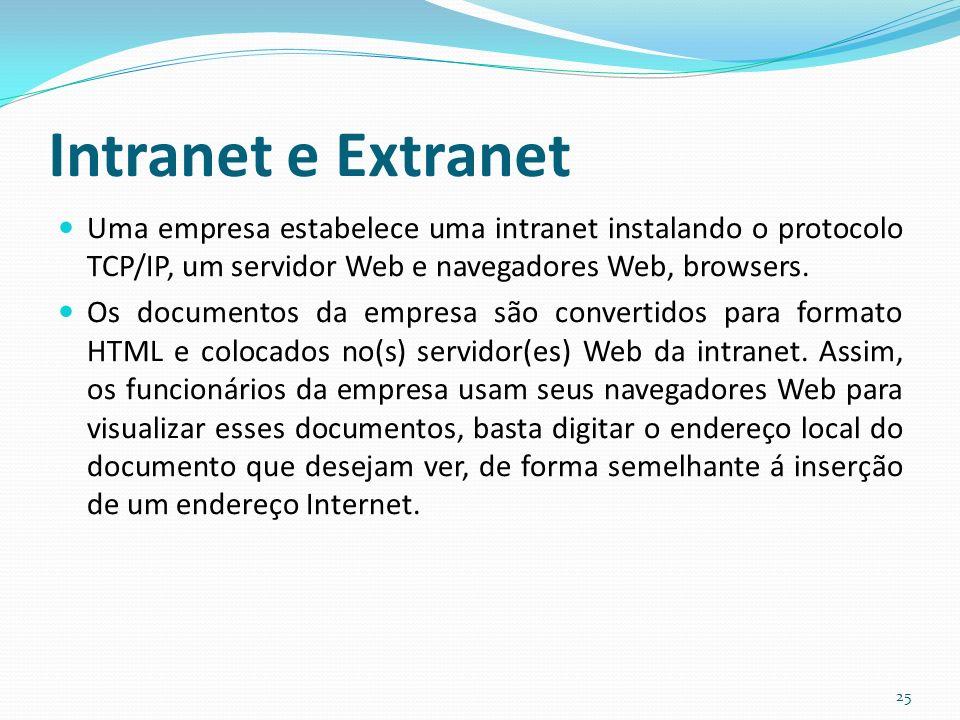 Intranet e Extranet Uma empresa estabelece uma intranet instalando o protocolo TCP/IP, um servidor Web e navegadores Web, browsers.