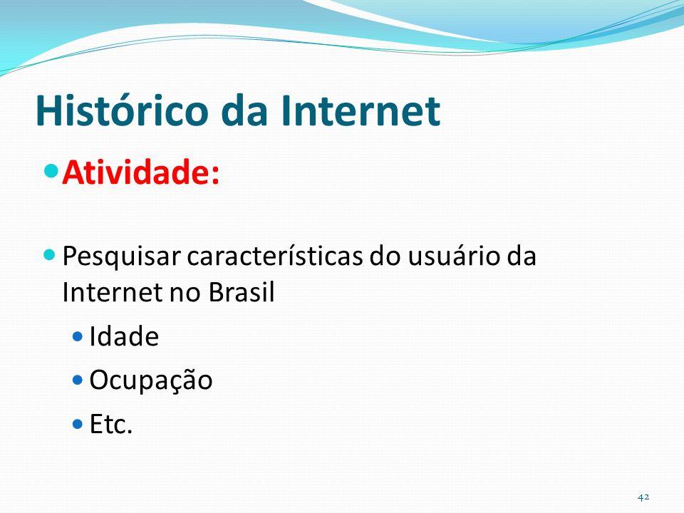 Histórico da Internet Atividade: