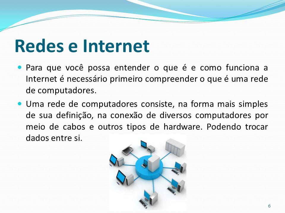 Redes e Internet Para que você possa entender o que é e como funciona a Internet é necessário primeiro compreender o que é uma rede de computadores.