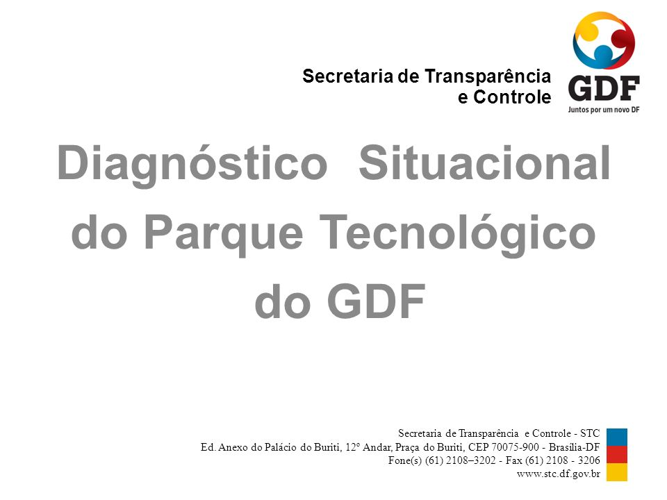 Diagnóstico Situacional do Parque Tecnológico do GDF