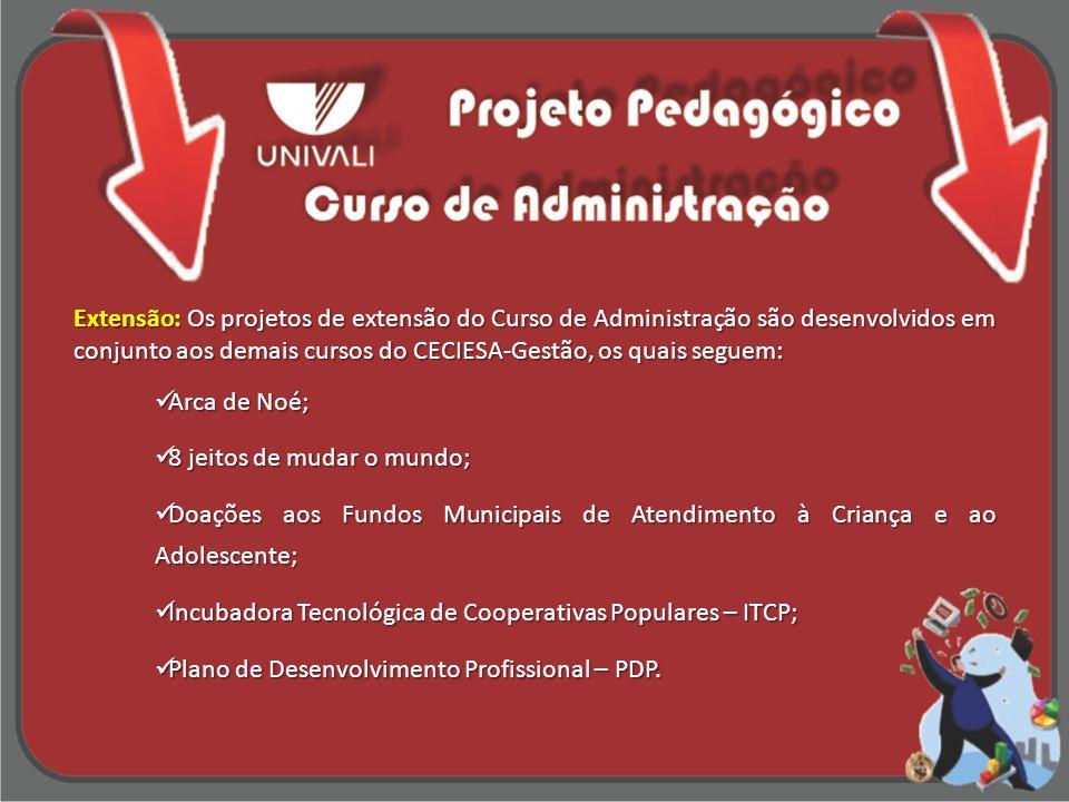 Extensão: Os projetos de extensão do Curso de Administração são desenvolvidos em conjunto aos demais cursos do CECIESA-Gestão, os quais seguem:
