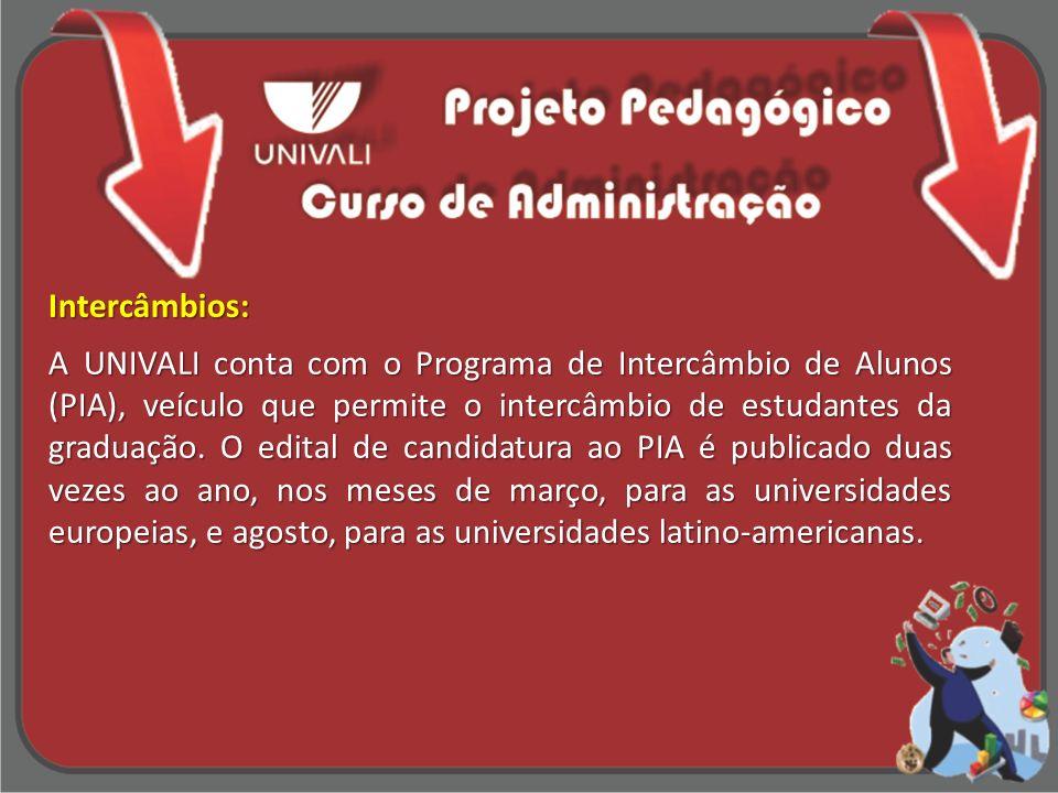Intercâmbios: A UNIVALI conta com o Programa de Intercâmbio de Alunos (PIA), veículo que permite o intercâmbio de estudantes da graduação.
