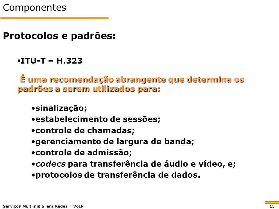 Componentes Protocolos e padrões: ITU-T – H.323